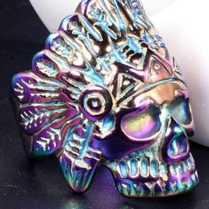 Stainless Steel Indian Chief skull Ring